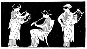 Antique illustration of ancient Greek women playing lyre and flute: two standing women are playing the lyre and in the middle there is a third sitting woman playing the flute (decoration from a painted vase)